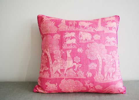Printed Pink Dupioni Silk Pillow Cover