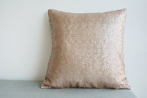 Champagne Metallic Sequin Pillow Cover