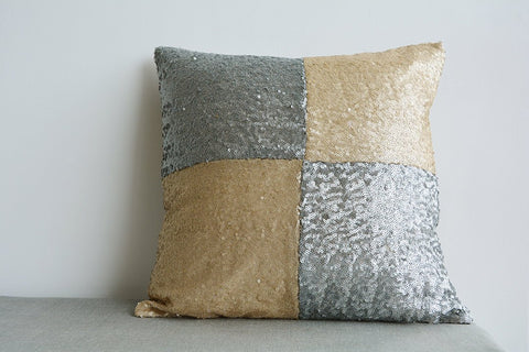 Gold and Silver Metallic Sequin Pillow Cover