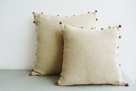 Natural Beige Linen Cushion Cover with Fabric Pom Pom Detail