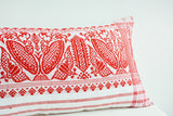 Assamese Gamcha Pillow Cover in Red and White Graphic Pattern