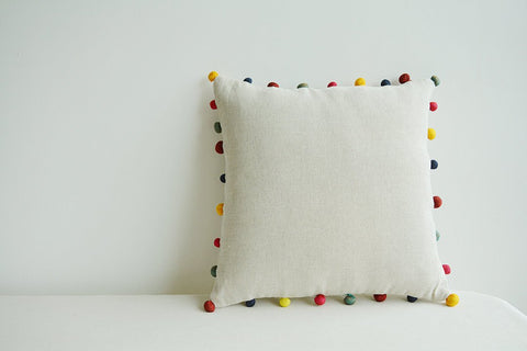 Natural Ecru Color Cotton Linen Cushion Cover with Colorful Fabric Pom Poms