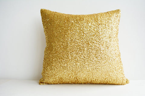 Sequin Pillow Cover in Bright and Shiny Gold