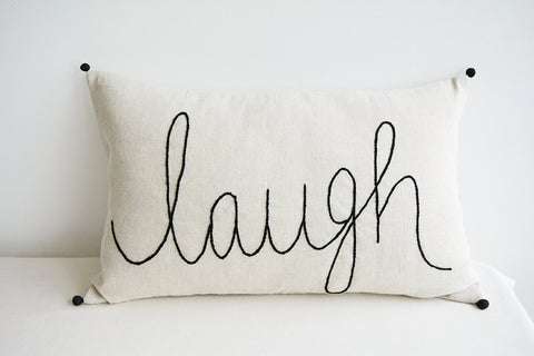 """Laugh"" , Hand Embroidery on Natural Ecru Cotton Linen Cushion Cover"