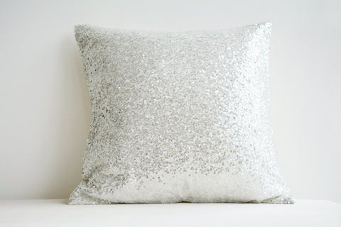 Sequin Pillow Cover in Silver and White