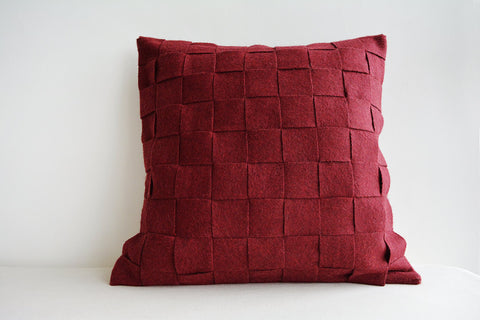 Basket Weave Dark Red - Maroon Felt Cushion Cover