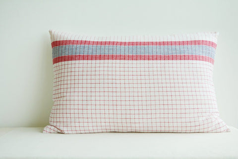 Traditional Assamese Yarn Dyed Pillow Cover in Red n White Checks