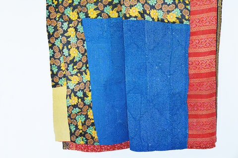 4 layer Reversible Vintage Kantha Throw , Kantha Bed Spread - Single