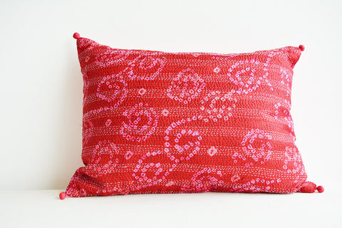 Red Vintage Sari Hand stitched Kantha Cushion Cover