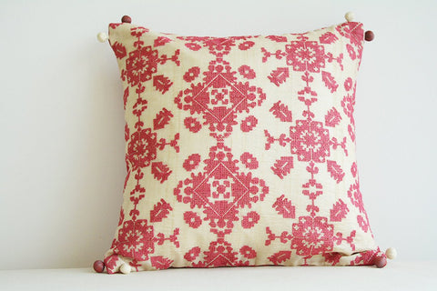 Pink Cross Stitch Embroidered Silk Pillow Cover