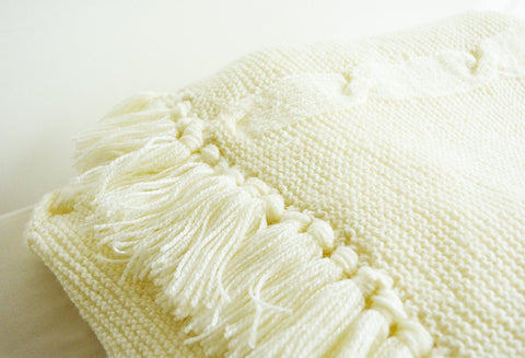 Hand Knitted Acrylic Throw with Tassels
