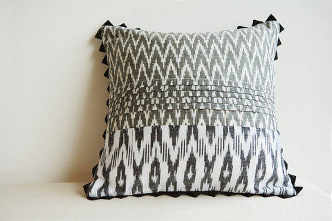 Black and White Woven Ikat Pillow with Graphic Pattern