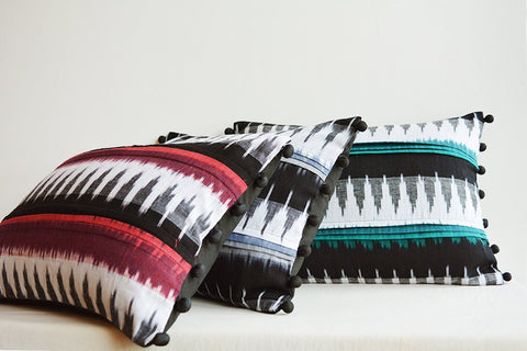 Black & White Lumbar Pillow with Accent Colour