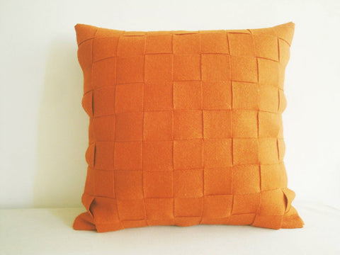 Orange Felt Cushion Cover, Orange Felt Pillow , Decorative Pillow, Accent Throw Pillow