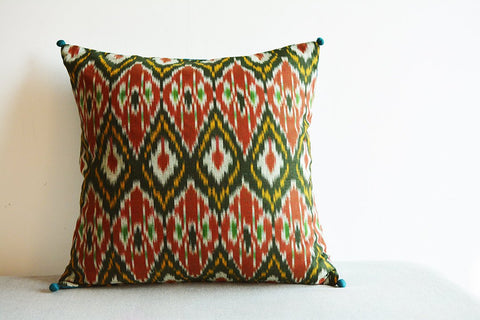 Dark Green and Red Woven Ikat Pillow with Graphic Pattern
