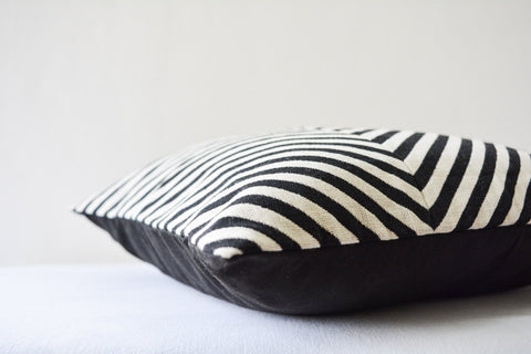 Patchwork Black and White Chevron Pillow Cover