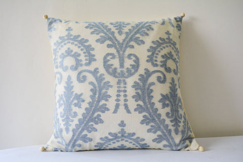 White and Blue Pattern Jacquard Pillow Cover