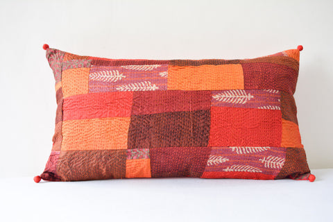 Red Hand stitched Kantha Pillow Cover