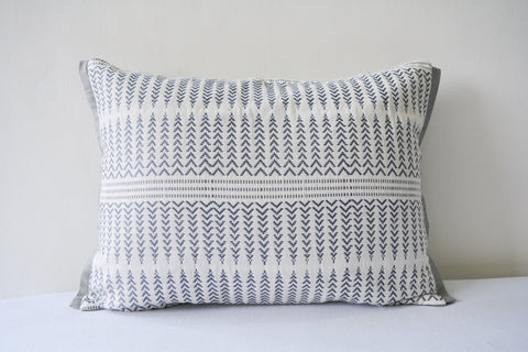 Silver Grey and White Jacquard Pillow Cover