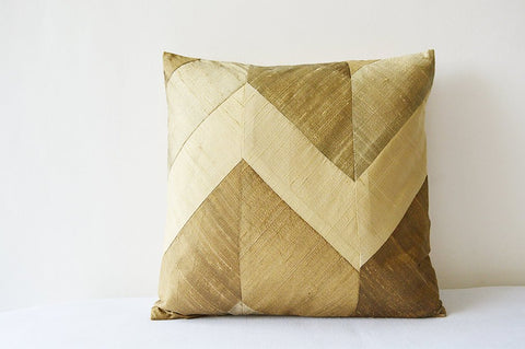 Neutral Beige Chevron Pillow Cover in Pure Dupioni Silk