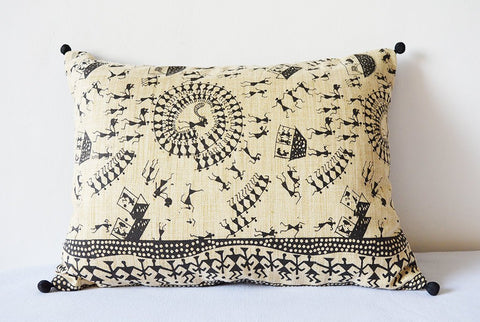 Black and Natural Warli Print Pillow Cover , Printed Cushion Cover , Black and Natural Decorative Pillow , Accent Pillow , Throw Pillow