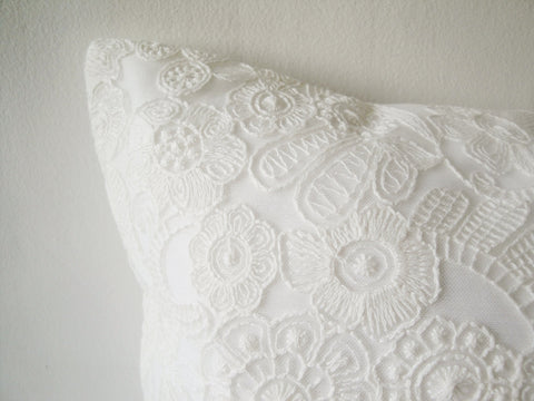 Beautiful White Pillow Cover with Delicate Lace Embroidery