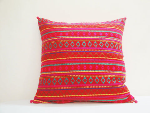 Bright Red Jacquard Woven Pillow Cover