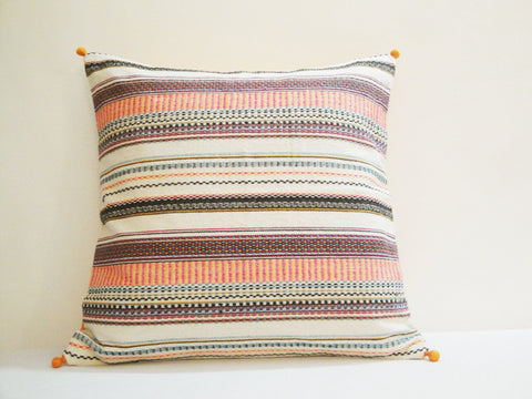 White Bright Stripes !! Colorful Pillow Cover , Off White Cushion with Multi Color Stripes , Decor Pillow , Throw Pillow , Spring Summer