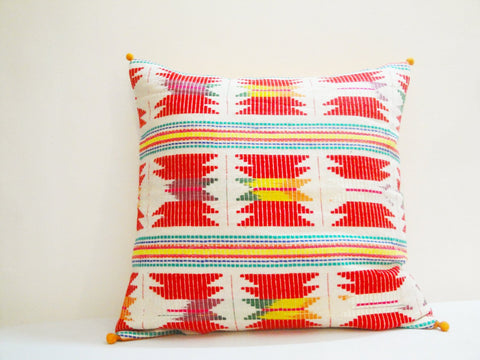 White and Bright Colorful Geometric Pillow Cover