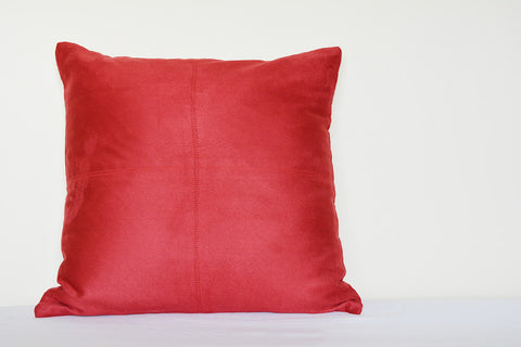 Squared Red Suede Pillow with Stitch Detail