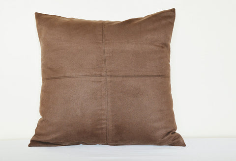 Squared Coffee Brown Suede Pillow with Stitch Detail