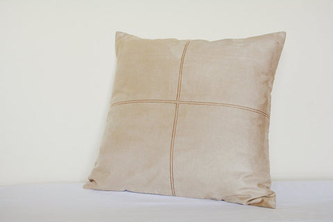 Light Beige Faux Suede Pillow Cover with Stitch Detail , Beige Faux Suede Leather Throw Pillow , Suede Cushion Cover, Housewares, Home Decor