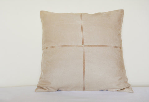 Squared Light Beige Suede Pillow with Stitch Detail