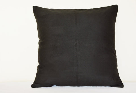 Squared Black Suede Pillow with Stitch Detail