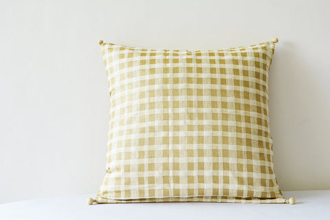 Off White and Beige Ahimsa Silk Pillow Cover with Woven Check Pattern