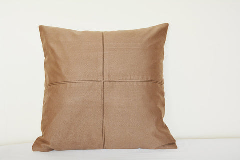 Squared Light Brown Suede Pillow with Stitch Detail