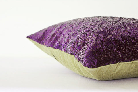 Purple Shiny Sequin Pillow Cover