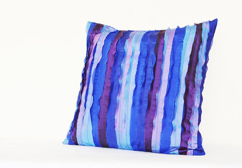 Shades of Blue Textured & Frayed Poly Silk Pillow Cover