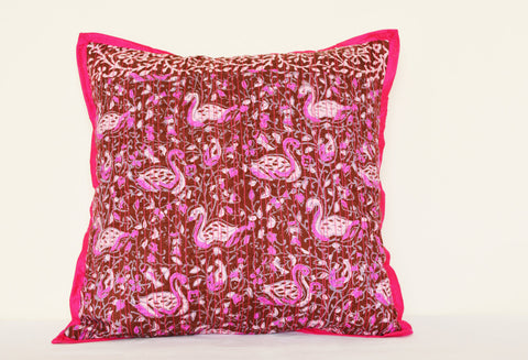 Batik Printed Pink  Silk Pillow with Hot Pink Piping and Stitching Detail