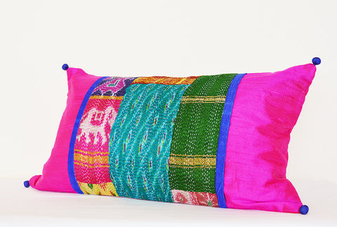 Patchwork Pillow with Vintage Hand Stitched Kantha & Pink Dupioni Silk