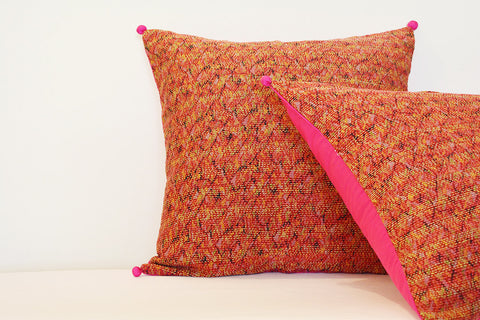 Red Vintage Hand Stitched Kantha Pillow Covers, Set of 2