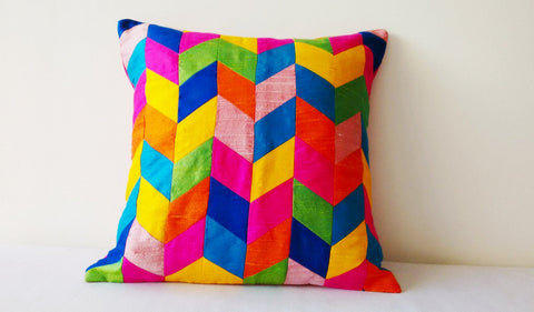 Bright Multi Colour Chevron Pillow in Pure Dupioni Silk