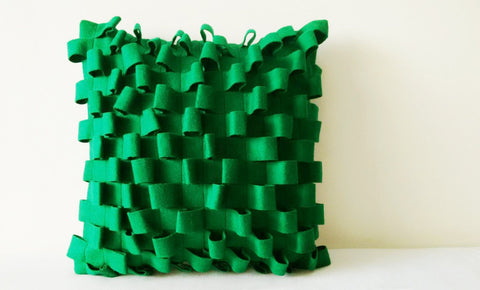 3-D Green Felt Cushion Cover , Green Decorative Pillow , Accent Throw Pillow, Textured Felt Pillow in Woven Pattern