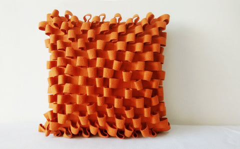 3-D Orange Felt Cushion Cover