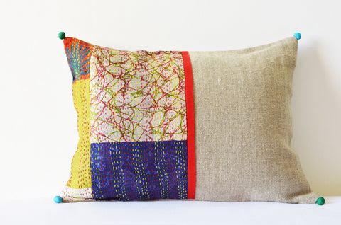 Patchwork Natural Linen Pillow with Vintage Sari Hand stitched Kantha Fabric