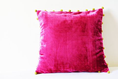 Hot Pink Velvet Cushion Cover with Pink Pom Poms