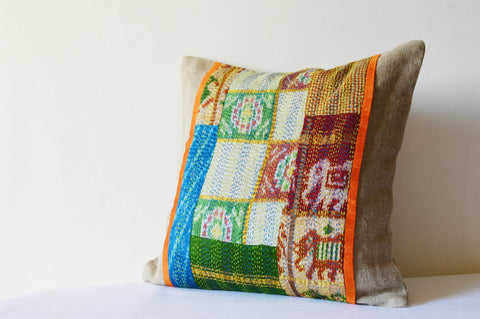 Patchwork Natural Linen Pillow Cover with Vintage Sari Hand stitched Kantha Fabric