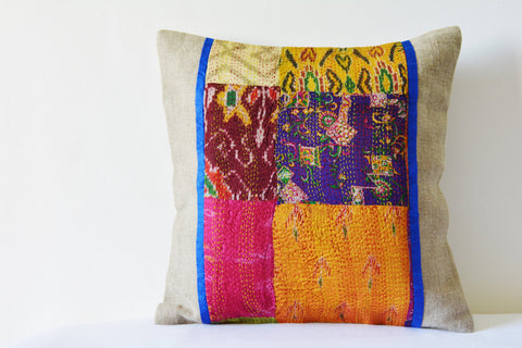 Patchwork Natural Linen Pillow Cover with Vintage Sari Hand stitched Kantha