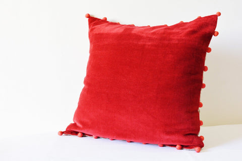 Red Velvet Pillow with Pink Pom Poms , Red Velvet Cushion Cover , Red Decor Pillow , Velvet Throw Pillow , Velvet Cushion