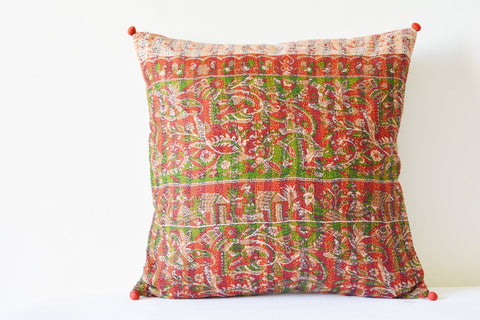 Red Vintage Kantha Cushion Cover ,Red Decorative Pillow , Accent Pillow , Vintage Kantha Pillow , Kantha Throw Pillow , Kantha Scatter Cush
